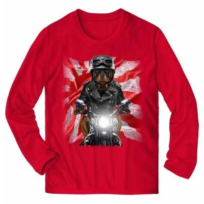 【ロットワイラー ドッグ 犬 いぬ バイク 日本 日の丸】メンズ 長袖 Tシャツ by Fox Republic