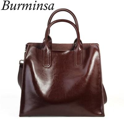 Burminsa 本物の革のハンドバッグ レディース本革トートバッグ ハンドバッグ 女性デザイナーショッパーショルダーバッグ