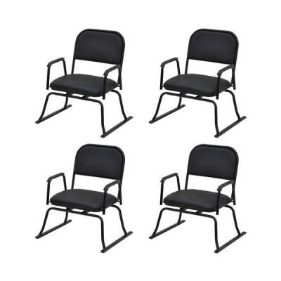 エイ・アイ・エス 楽座椅子 回転式 4脚セット/RCR-10BK x4PCS ブラック/560x500x640mm