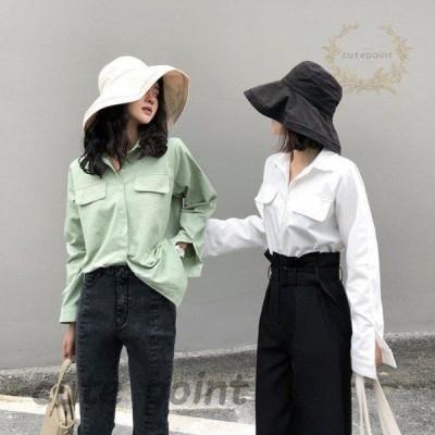 ブラウス ワイシャツ ビジネス 開襟 ボタン ホワイト レディース 40代 シャツ 2色 通勤 通学 長袖シャツ 無地 トップス 韓国風 新作 春