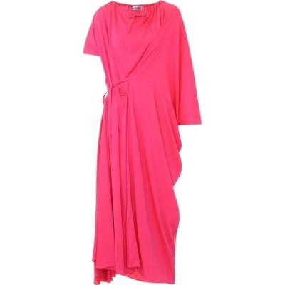 バレンシアガ Balenciaga レディース ワンピース ミドル丈 ワンピース・ドレス asymmetric crepe midi dress Fluo Pink