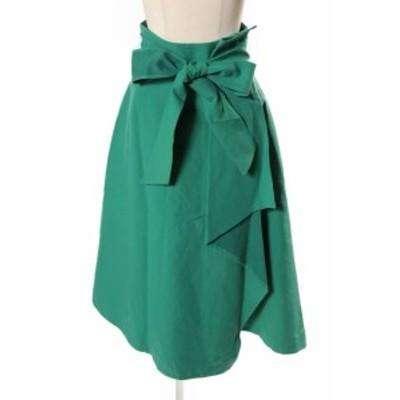【中古】フレイアイディー FRAY I.D スカート ミモレ フレア リボン 0 緑 グリーン /sh0405 レディース