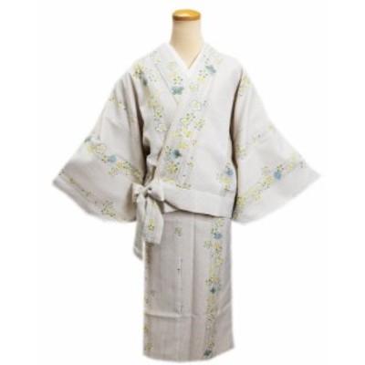 女性用洗える袷二部式着物薄ベージュグレー地桜ラインM・L 普段着&ユニフォーム レディース 簡単