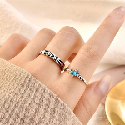 指輪 レディース リング お洒落 シンプル プリンセス ナイト シルバー 925 ピンクゴールド フリーサイズ 金属アレルギー対応 ペアリング