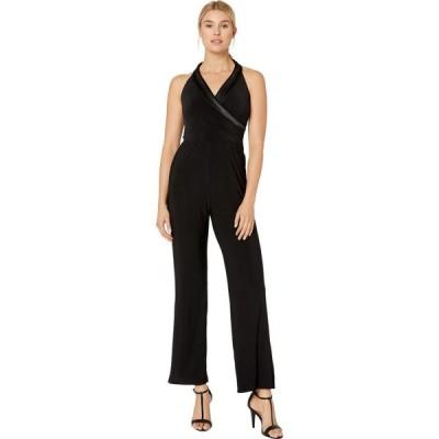 マリナ MARINA レディース オールインワン ジャンプスーツ ワンピース・ドレス Matte Jersey Jumpsuit w/ Satin Shawl Collar Black