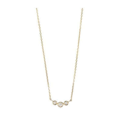 マレア リッチ Marea rich 14KJ-16 K10×ダイアモンド 3粒ダイア ネックレス ペンダント Precious Standard Necklace