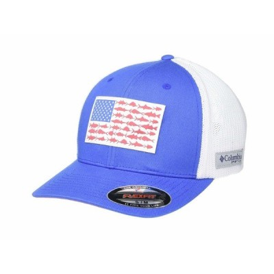 コロンビア 帽子 アクセサリー メンズ PFG Mesh Fish Flag Ball Cap Vivid Blue/White/Sunset Red