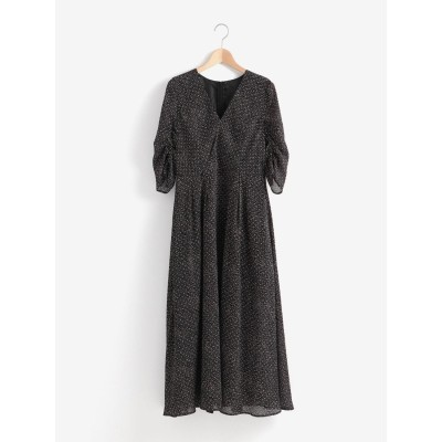 Perle Peche Kaene シャーリングプリントドレス(ブラック)