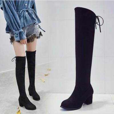 膝丈 ロングブーツ レディース  靴下ブーツ  長靴 太ヒールブーツ 靴 大きいサイズ レディース  ニーハイブーツ ロングブーツ 靴 ハイヒール 福袋 レディース