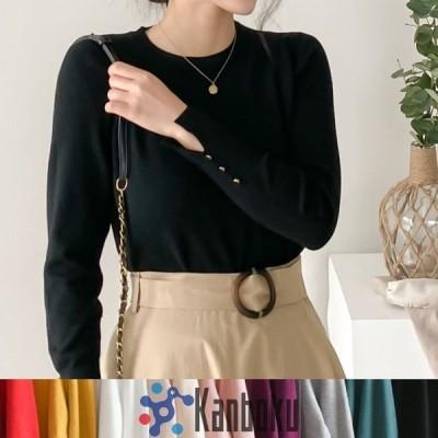 トップス レディース 上品 ニット 金ボタン飾り 長袖 袖スリット30代 40代 ファッション セクシ 黒 白 赤 ベージュ