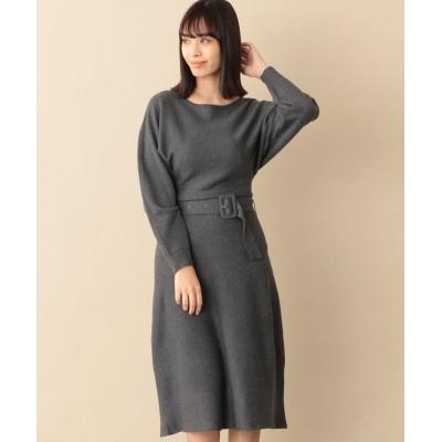 【キャスト コロン】 ウエストマークニットドレス レディース グレー4 L CAST: