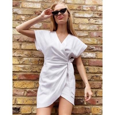 エイソス レディース ワンピース トップス ASOS DESIGN linen wrap mini dress in white