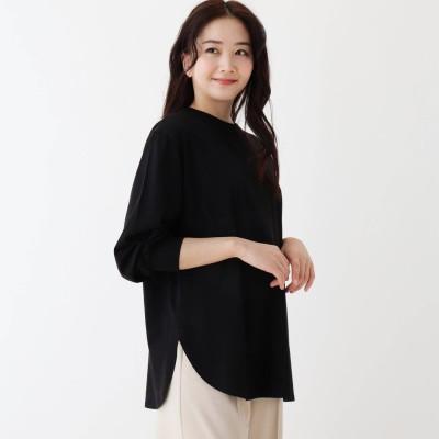 シューラルー SHOO-LA-RUE SUPIMA ボリューム袖ラウンドヘムTシャツ (ブラック)