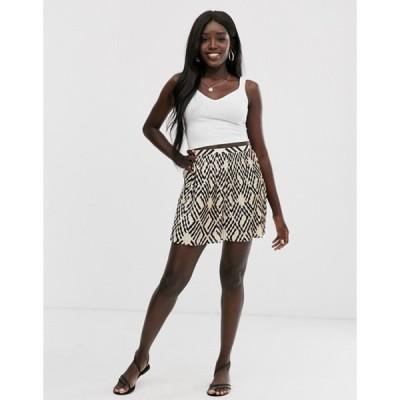 エイソス レディース スカート ボトムス ASOS DESIGN geo print mini pleated skirt