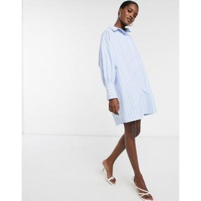 エイソス レディース ワンピース トップス ASOS DESIGN cotton oversized striped mini shirt dress Blue/white stripe