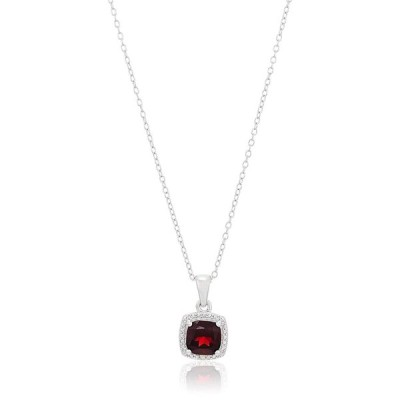 Sterling Silver Cushion Garnet and Diamond Accented Halo Pendant Neckl