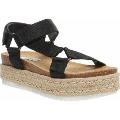 スティーブ マデン レディース サンダル シューズ Women's Steve Madden Kaelan Espadrille Flatform Sandal Black Nylon Fabric