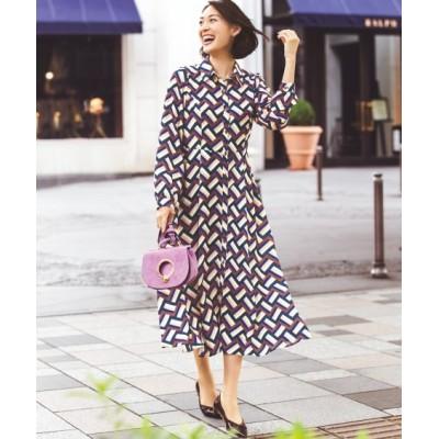 【大きいサイズ】 タックデザインプリントシャツワンピース(オトナスマイル) ワンピース, plus size dress