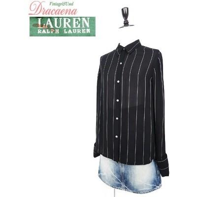 レディースシャツ古着 LAUREN RalphLauren ローレン ラルフ モノトーン ペンシルストライプ 黒ベース シルク ダブルカフス 長袖 シャツ