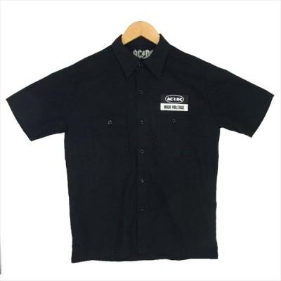 ヒステリックグラマー HYSTERIC GLAMOUR AC/DC プリント ワッペン ワークシャツ 半袖シャツ 黒系 サイズ表記無 【中古】