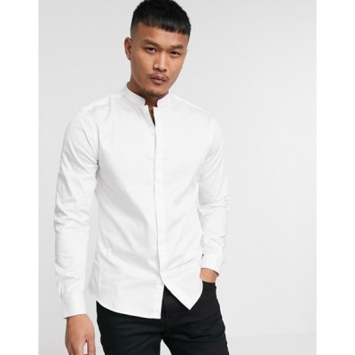 エイソス メンズ シャツ トップス ASOS DESIGN slim fit sateen shirt with mandarin collar in white