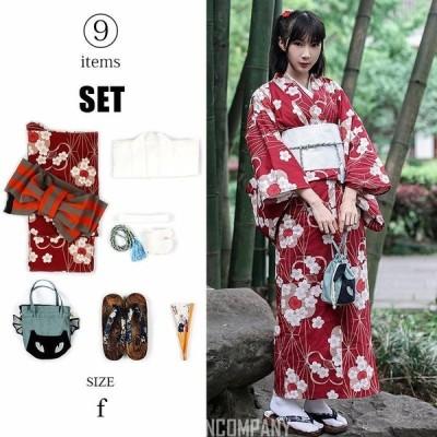 レディース 浴衣 着物 洗える着物 袷 着物福袋 9点 セット 和雑貨 きもの キモノ 女性 桜