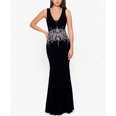 ベッツィアンドアダム Betsy & Adam レディース パーティードレス ワンピース・ドレス Embroidery-Trim Gown Black/Silver