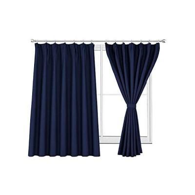 WONTEX 2枚セット カーテン遮光1級 ドレープカーテン おしゃれ 断熱 形状記憶加工 リビングルーム UVカット ネイビー 幅100cm×丈13