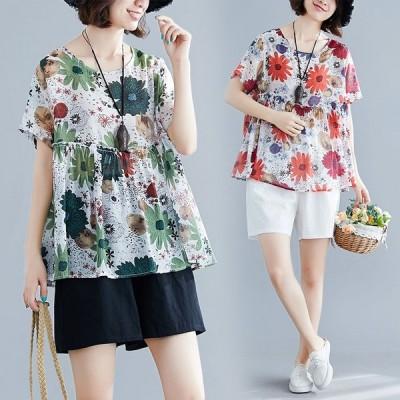 トップス レディース 綿麻 きれいめ春夏 ゆったり 半袖 花柄 ラウンドネック 綿 大きいサイズ 体型カバー 着やせ tシャツ