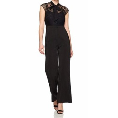 Adelyn Rae アデリーレイ ファッション ジャンプスーツ Adelyn Rae Womens Black Size Small S Lace Trim Tie Neck Jumpsuit