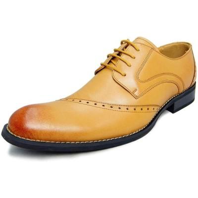 アラモーダ 日本製 ビジネスシューズ 本革 メンズ 革靴 紳士靴 外羽根ウイングチップ 1185 ライトブラウン 27.5cm