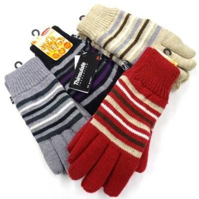 中国製婦人ニット手袋 アクリル ボーダー シンサレート No.5372 6163-802
