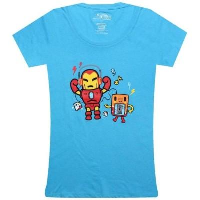 トキドキ Tokidoki レディース Tシャツ トップス x Marvel Iron Jam Tee light blue