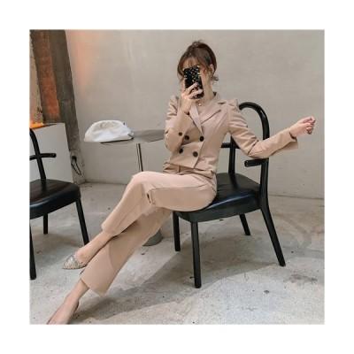 パンツスーツ ズボン 韓国 ツーピース インポート きれいめ セクシー 着痩せ 通勤 オールインワン ガウチョパンツ 長袖 シフォン オフショルダー ストライプ パ