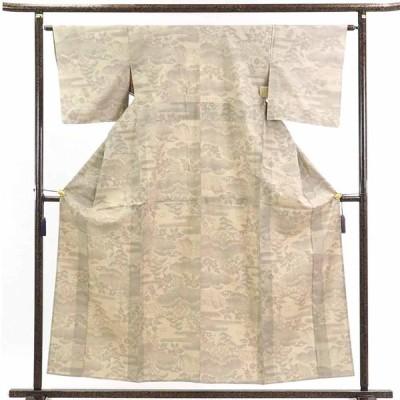 リサイクル着物 紬 正絹ベージュ地単衣真綿紬着物