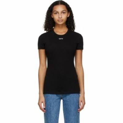 オフホワイト Off-White レディース Tシャツ トップス Black Ribbed Logo T-Shirt Black
