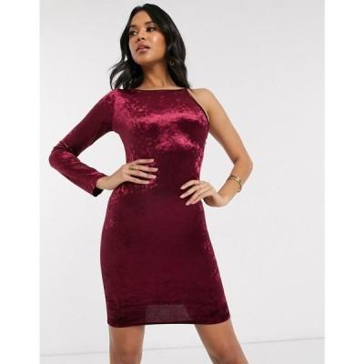 アックスパリス AX Paris レディース ワンピース ワンピース・ドレス velvet one shoulder mini dress in plum プラム