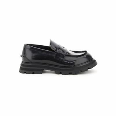ALEXANDER MCQUEEN/アレキサンダー マックイーン Black Alexander mcqueen brushed leather loafers メンズ 秋冬2021 664618 WHZ80 ik