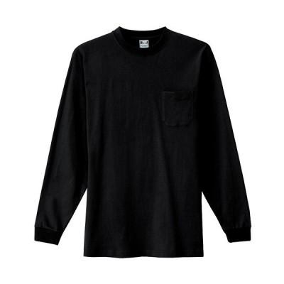 アイトス(AITOZ) 大きいサイズ(3L) 長袖Tシャツ(ポケット付)(男女兼用) 010/ブラック AZ-10530 ワークウェア 作業着