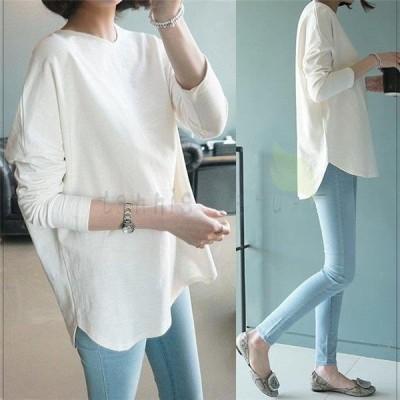 Tシャツ レディース トップス クルーネックカットソー 長袖tシャツ カットソー ラウンドカット カットソー ロング ゆったり 体型カバー 大きいサイズ 30代 40代