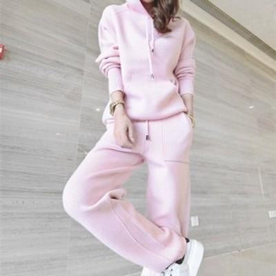 ピンク フード付き ニット セットアップ 冬 暖か ツーピース プルオーバー ニットパンツ 長袖 大人可愛い 秋冬 防寒 フェミニン セーター
