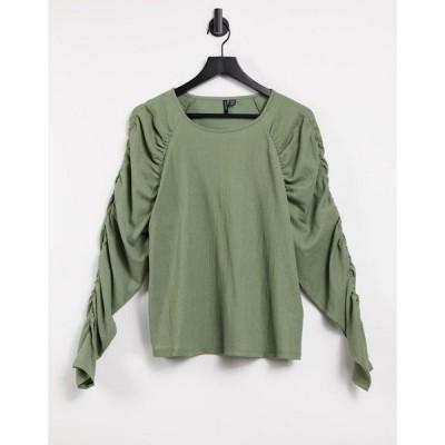 ヴェロモーダ おでかけトップス レディース Vero Moda wide neck top with ruched sleeves in khaki エイソス ASOS カーキ