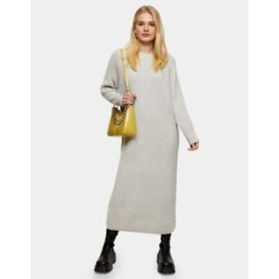 トップショップ レディース ワンピース トップス Topshop knit midi sweater dress in gray heather Gray heather