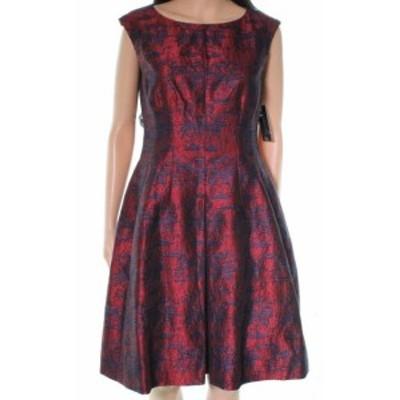 Anne Klein アンクライン ファッション ドレス Anne Klein NEW Red Printed Tweed Women Size 8 Sleeveless A-line Dress