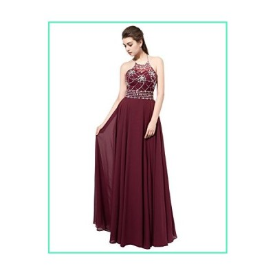 Sarahbridal Womens Halter Chiffon Prom Evening Dresses Long 2020 Backless Bridesmaid Gowns Maroon US4並行輸入品