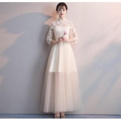 春 夏 ドレスワンピース パーティードレス レディース 切り替え ワンピース ドレス 大きいサイズ XL シフォン チュール レース ホワイト