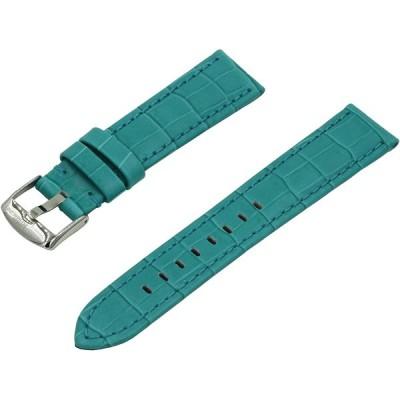 SWISS REIMAGINED クロコダイル イタリアンカーフスキンレザー時計バンド クラッシックステンレスバックル - 19mmターコイズ