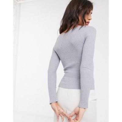 エイソス レディース ニット&セーター アウター ASOS DESIGN v neck ribbed sweater Gray heather