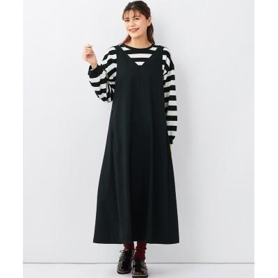 大きいサイズ Aラインロング丈ジャンパースカート ,スマイルランド, ワンピース, plus size dress