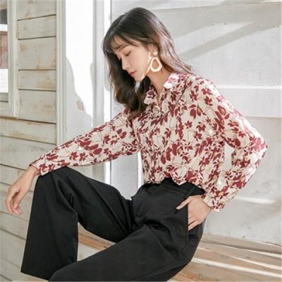 シャツ レディース 40代 春 ブラウス 大きいサイズ ゆったり トップス 体型カバー 柄物 長袖